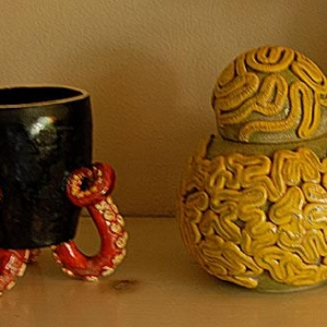 Octopus Cup and Yellow Brain Coral Jar
